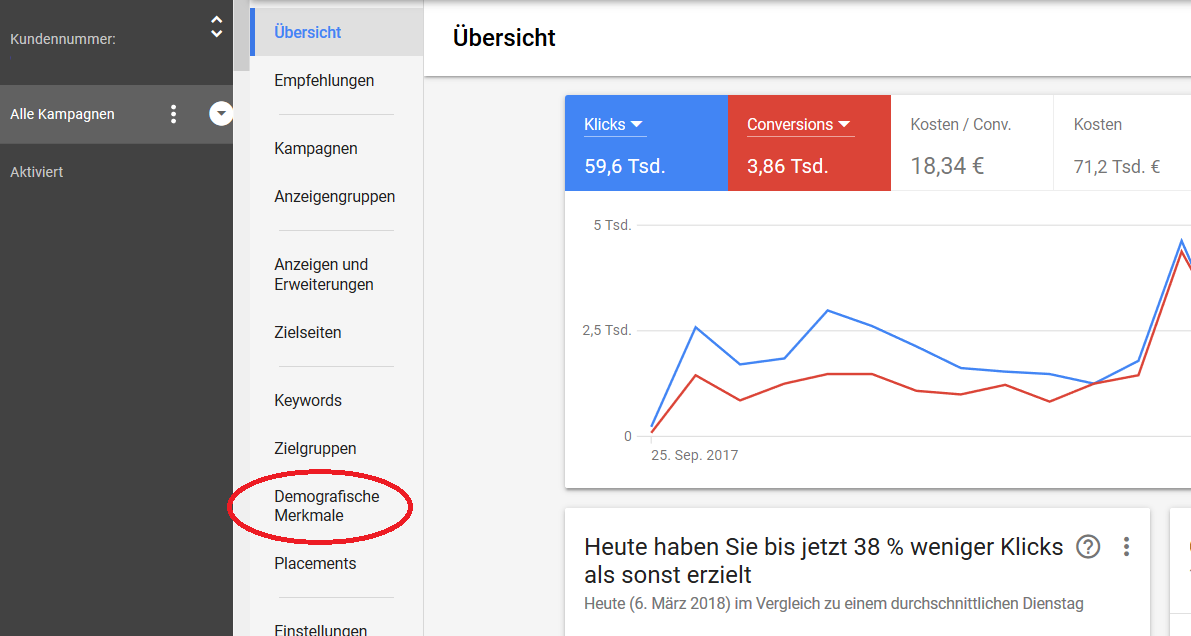 Demografisches Targeting auf Google AdWords